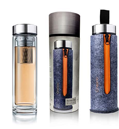 Creano Exklusive Teeflasche Thermo-Teamaker, doppelwandig mit Edelstahlsieb & -deckel in edler Filz-Tasche, Orange (400ml) im hochwertigen Geschenkkarton