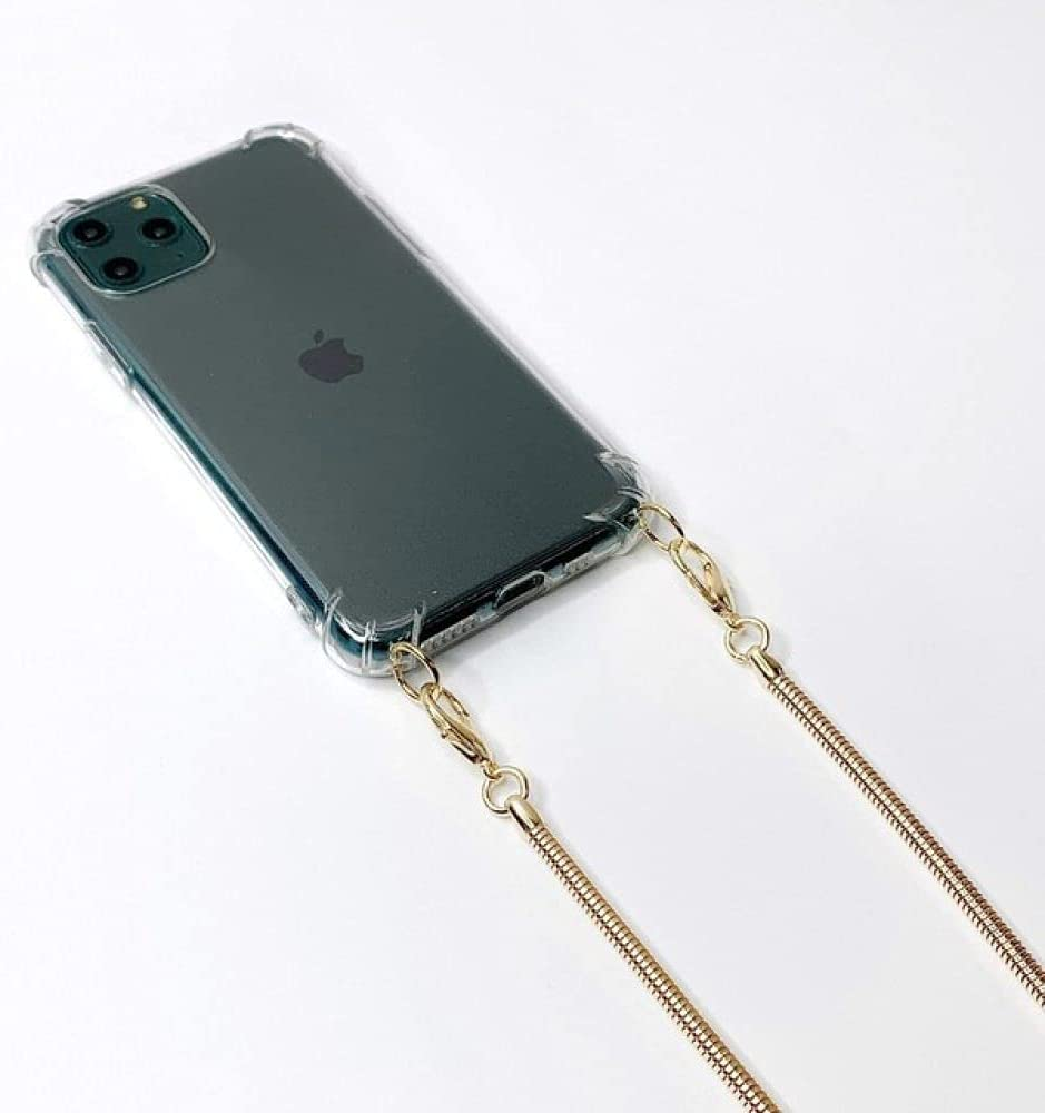 Crossbody Lanyard Necklace Rope Transparent Phone Case for iPhone SE 12 11 Pro XS MAX XR X 10 7 8 6 Plus Metal Chain Cord Cover,Gold Y,for iPhone 6plus