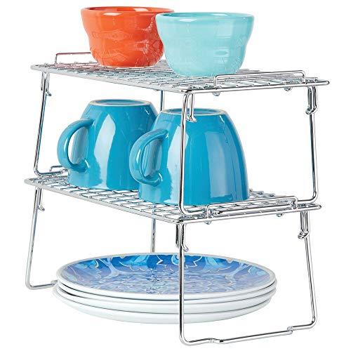 mDesign Juego de 2 estantes apilables para almacenaje de cocina – Repisa metálica de cocina con patas plegables – Moderno organizador de armarios para vajilla, conservas y especias – plateado