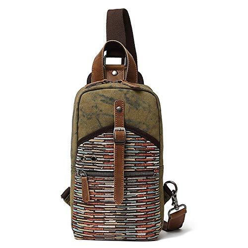 Leaper Canvas Aidonger Brusttasche aus Segeltuch und Leder klein kompakt eine Schulter Rucksack, Armee-grün (Grün) - 117
