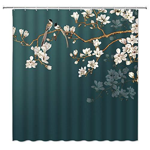 Duschvorhang mit Blumen und Vögeln, Magnolie, Frühlingsblumen, Zweig, Blüte, antikes asiatisches Blumenmuster, traditionelles chinesisches Farbgemälde, Badezimmer-Dekoration, 178 x 178 cm