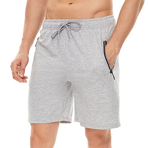 Pantaloncini da uomo Pantaloncini sportivi estivi Pantaloncini casual in cotone Pantaloncini elastici in vita Pantaloncini tascabili con cerniera riflettenti invisibili Pantaloncini da corsa fitness