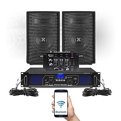 "VONYX SL 8"" Party Speakers and Amplifier, DJ Mixer & Mic FPL500 MP3 Bluetooth DJ Set"