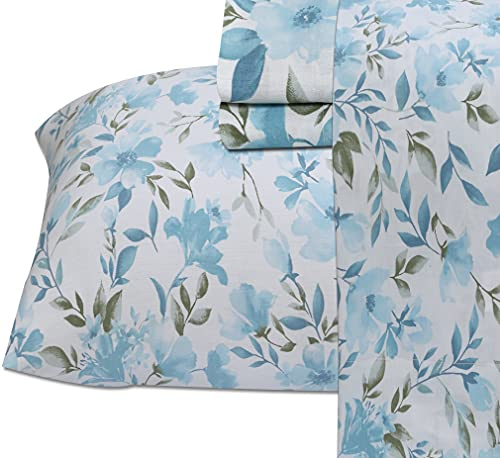 Ruvanti - Sábanas de algodón 100%, juego de cama de 4 piezas, sábanas queen, sábanas de satén azul y verde, suaves, transpirables,...