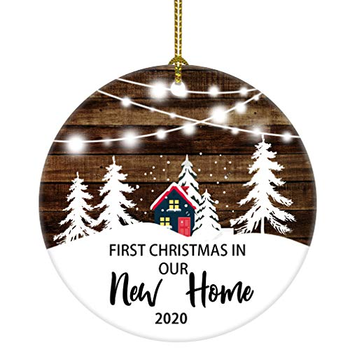 JUOOE Our First Christmas in Our New Home Christmas Tree House Ornament Christmas Wedding Decoration Couple Gift Newlywed Couple 2020 (White and Brown New Home)