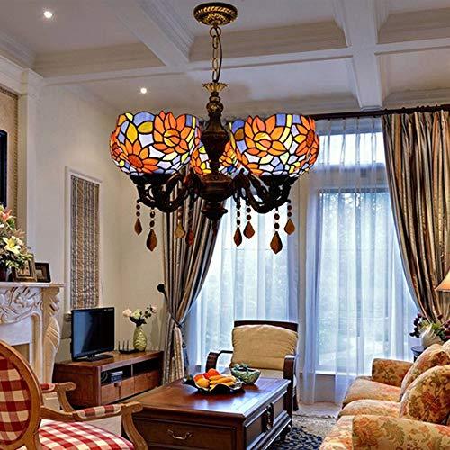 Zzaoxin Lámparas de araña Vidrieras Creativas Pastorales Americanas Sala De Estar Comedor Dormitorio Barra Azul Sol Flor 5 Lámpara De Araña Altura Ajustable
