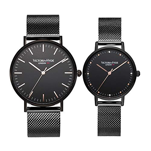 VICTORIA HYDE Couple Watches Men Women Stainless Steel Mesh Band Black His and Hers Waterproof Quartz Wristwatch for Lovers Gifts Set
