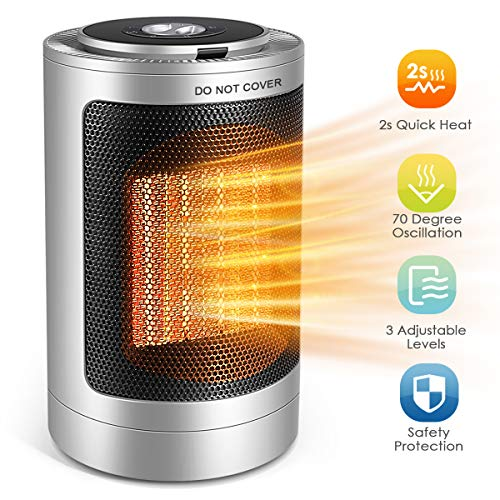 Space Heater, 1500W Small Ceramic Portable Personal Quick Heat-up Oscillating PTC Mini Table Fan with Overheat & Tip-Over Protection for Home Indoor and Office Desktop, Electric Heater