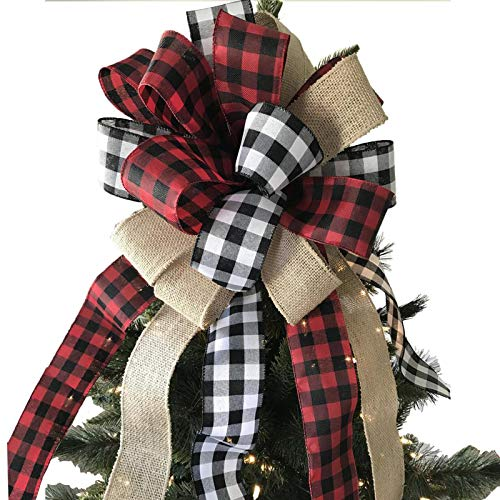 Tmflexe Christmas Bows Tree Topper Red Black White Buffalo Plaid Ornaments Handmade for Wreath Door Burlap Rustic Farmhouse Decoration (Burlap Buffalo Plaid)