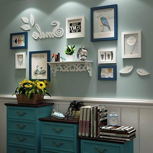 DNSJB 8 stuks massief hout foto muur en plank, muur opknoping fotolijst Set Combinatie, Wit fotolijst Gallery Kits Collage Voor Thuis Slaapkamer Woonkamer Muurdecoratie