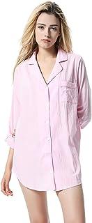 Elegante Camisón para Mujer, Camisón de Algodón Cuello Camisero con Cierre Mediante Botones con Bolsillo Delantero Pijama Corto de Una Pieza Ropa de Dormir Camisones de Noche para Mujer