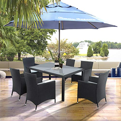 SIRUITON7 Pieces Garden Dining Table and Chairs Outdoor Rattan Furniture Set with Rectangular Glass Top Weatherproof Wicker Rattan Outdoor Conservatory 6 Seater Patio Furniture Set (Black)