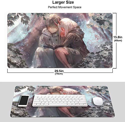 Anime Darling in The Franxx Zero Two & Hiro 40,1 x 75,9 cm großes Gaming-Mauspad Schreibtischunterlage lang rutschfest gummierte Kanten