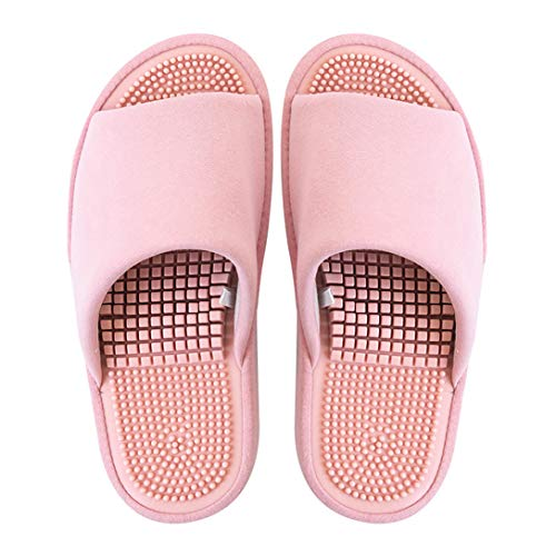 BIKINIV Reflexology & Acupressure Massage Slippers Sandals for Men & Women Home Shoes Shock Absorbing, Cushion Comfort & Arch Support for Better Health (7.5-8 Women/6.5-7 Men, Pink)