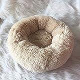 Generic Weiches Plüsch-Haustierbett, leicht zu reinigen, EIN kleines Nest für Katzen und Hunde Beige L