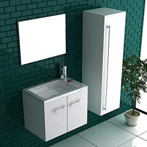 Badmöbel Set mit Waschbecken aus Mineralguss und Unterschrank mit Softclose-Funktion/weiß / 50 cm Breite