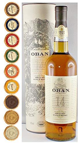 Oban 14 Jahre Single Malt Whisky + 9 Edel Schokoladen in 9 Sorten