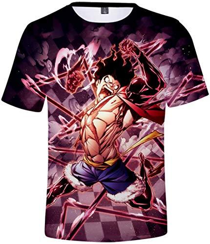 PANOZON Homme T-Shirt à Manches Courtes One Piece Manga Animation Japonaise Populaire Fans T-Shirt (L,Frapper avec la Main 9980)