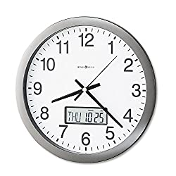 Brother Howard Miller 625195 Chronicle Wall Clock with LCD Inset, 14-Inch, Gray