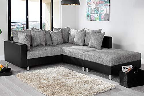 Invicta Interior Design Ecksofa mit Hocker LOFT schwarz Strukturstoff grau Federkern Ottomane beidseitig aufbaubar