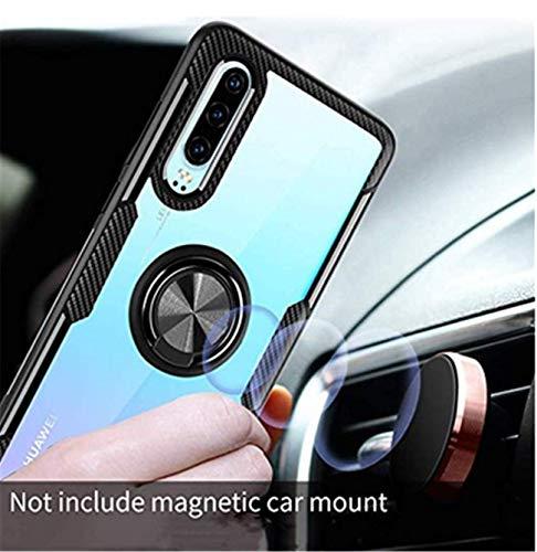 Kompatibel mit Huawei P30 Lite Hülle Huawei P30 Pro/P30 Silikon-Weiche Handyhülle Kickstand 360 Grad Handy transparent Magnetische Autohalterung Anti-Rutsch Schutz (Schwarz 1, P30 Lite) - 3