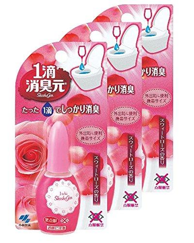 【まとめ買い】1滴消臭元 消臭芳香剤 トイレ用 スウィートローズ 20ml (約640滴分)×3個