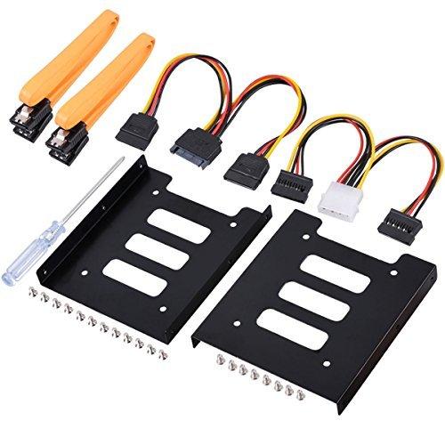 UCEC - Kit de montaje de disco duro interno de 2,5 pulgadas SSD a 3,5 pulgadas (cables de datos SATA y cables de alimentación...