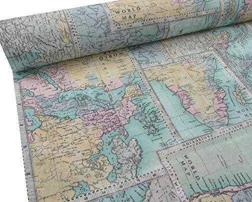 Confección Saymi Metraje 0,50 MTS Tejido loneta Estampada Ref. World Map, con Ancho 2,80 MTS.