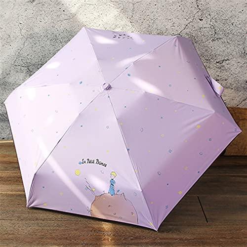 UIOP Dibujos Animados Paraguas Lluvia Mujeres Plegables Paraguas Hembra Soleado sombrilla Encantadora Paraguas Mini Bolsillo Paraguas 803 (Color : Purple)