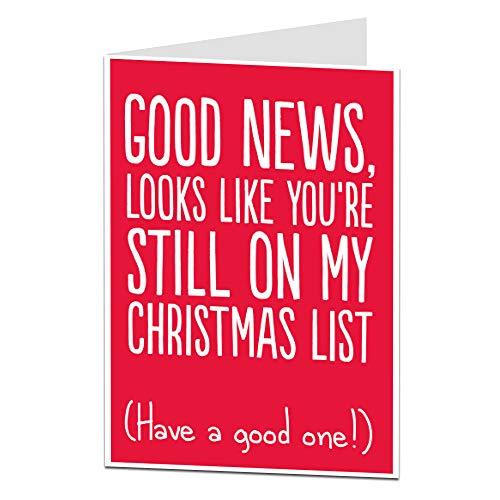 Funny Good News Christmas Card List - for Him & Her