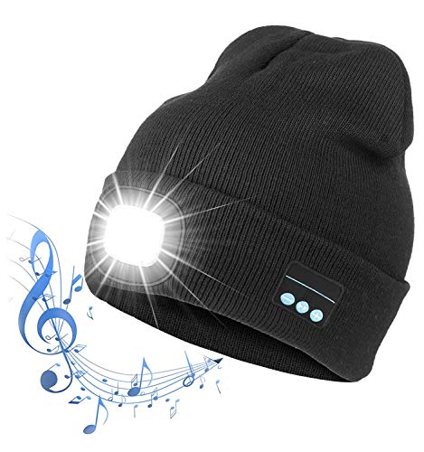 LED Light Beanie Hat, Musical Knitted Cap With Built-in detachable Bluetooth Stereo Speakers, Winter Warmer Knit Hat for Running Hiking, Fishing, Camping, Hunting and Christmas Gifts(Black)