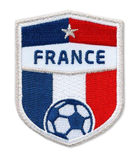 2 x Frankreich Fussball Abzeichen 70 x 55 mm / Silber Stickerei Équipe Tricolore Fédération Française Football / Aufnäher Aufbügler Patch Sticker / France französisch National Team Dress Trikot Flagge