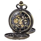 Pocket Watch Skeleton Mechanical Double Case Hand-Wind SIBOSUN Bronze Roman Numerals Antique Chain Mens