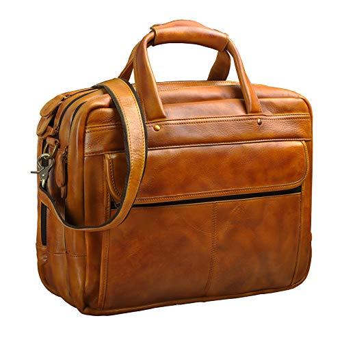 Le'aokuu Leather Mens Business Travel Laptop Case Best Portfolio Briefcase Handles Organizer Shoulder Strap Messenger Bag (Y B1001 Light Brown)
