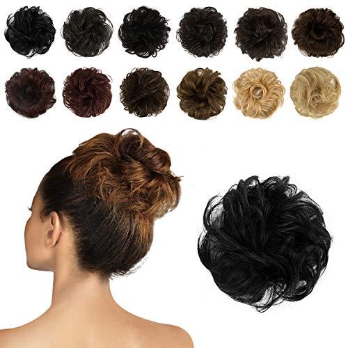 Feshfen Haargummis/Extensions aus Echthaar für Haarknoten und Hochsteckfrisuren, Donut-Haar-Dutts, lockige, zerzauste Haarteile für Damen, aus 100 % Echthaar