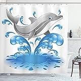 ABAKUHAUS Delphin Duschvorhang, Tier Sealife Cartoon, mit 12 Ringe Set Wasserdicht Stielvoll Modern Farbfest & Schimmel Resistent, 175x200 cm, Blau grau