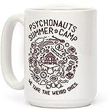 Psychonauts Summer Camp - Taza de café (cerámica, 45 ml), diseño de campamento de verano, color blanco