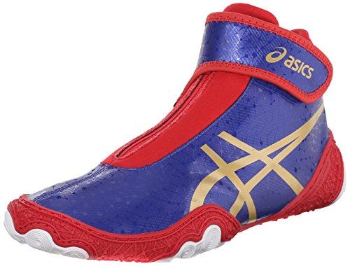 ASICS Men's Omniflex Attack V2.0 Wrestling Shoe, Asics Blue/Gold/Red, 15 M US