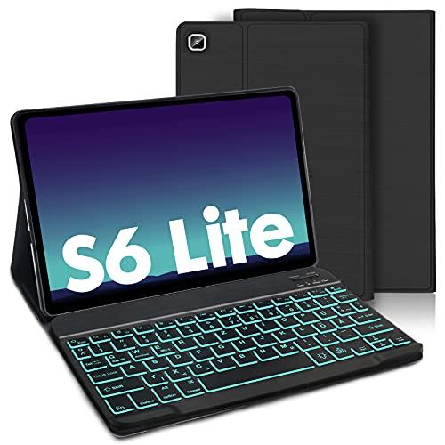 AVNICUD Funda con teclado iluminado para Samsung Galaxy Tab S6 Lite 10,4' 2020, teclado desmontable (QWERTZ) con funda ultrafina para tablet Galaxy Tab S6 Lite SM-P610/P615, color negro