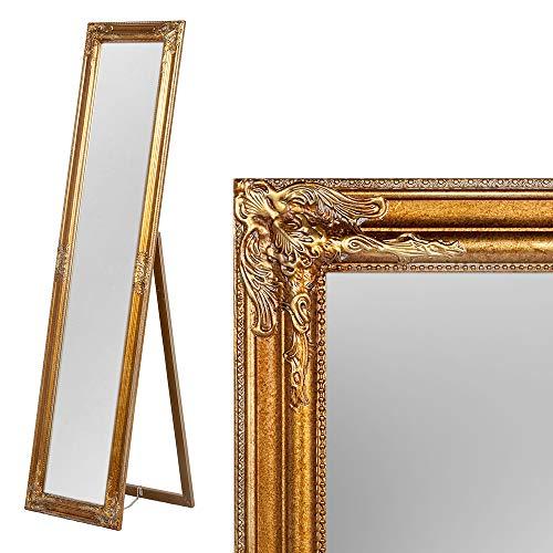 LEBENSwohnART Standspiegel Domingo ca. 160x40cm Antik-Gold Ankleidespiegel Ganzkörperspiegel