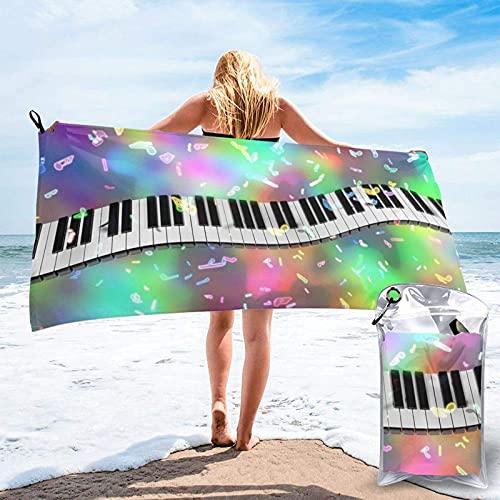 Paedto Toalla de playa, extra grande, 80 x 130 cm, suave, altamente absorbente, ideal para viajes diarios, camping, gimnasio, piscina, sillas de playa, carrito de playa, música de piano Teesobunny,