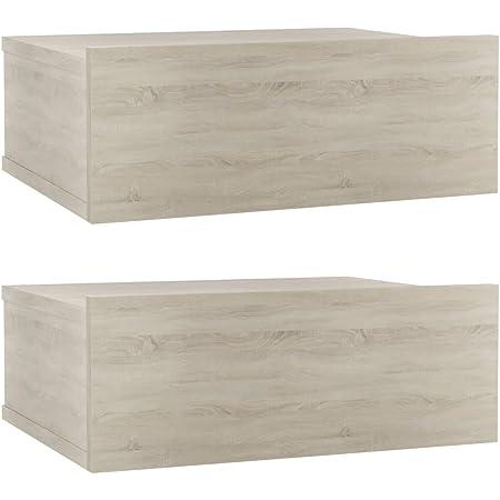 vidaXL 2X Tables de Chevet Flottantes Table de Nuit Murale Armoire de Chevet avec Un Tiroir Chambre à Coucher Maison Chêne Sonoma 40x30x15 cm Aggloméré