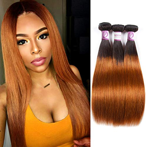 Racily Hair 1B/30 Ombre Brazilian Hair Straight 3 Bundles Deals Color Black to Dark Brown 8A Remy Silky Straight Virgin Human Hair Sew in Weave 10-26 Inch Unprocessed Hair (10'12'14')