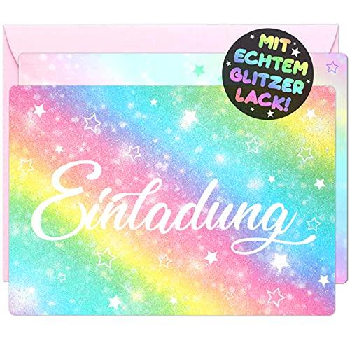 12x Glitzer EINLADUNGSKARTEN + Umschläge für PARTY und KINDERGEBURTSTAG - die Karten im bunten Regenbogen Stern Design sind die EINLADUNG für Mädchen Jungen Kinder zum GEBURTSTAG und KINDERPARTY