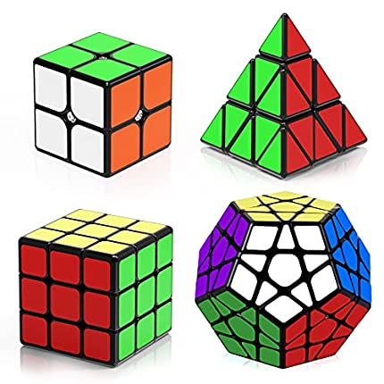 ROXENDA Cubos de Velocidad, Speed Cube Set de 2x2 3x3 Pirámide Megaminx Cube, Torneado Fácil y Juego Suave Magic Cube Colección de Rompecabezas