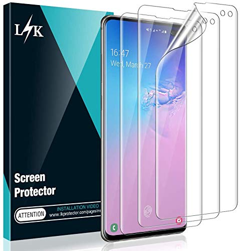 [3 Pack] L K Screen Protector for Samsung Galaxy S10 Plus, [New Version] [Self Healing] [in-Display Fingerprint] HD Effect Flexible Film