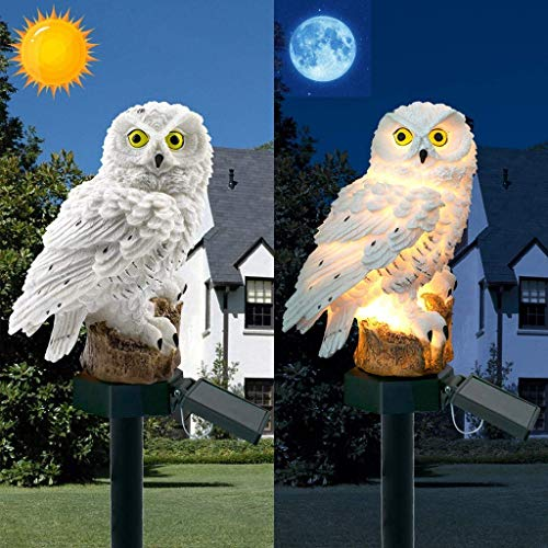 Neuheit Solar Garten Lichter Ornament Eule Tier Vogel Outdoor LED Dekor Skulptur wasserdicht (White)