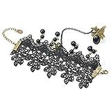 Retro Bracelet con anillo de boda y joyas para cadena, diseño de muñeca gótica