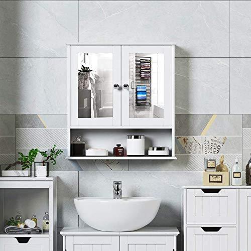 Badkamerkastje met Twee Spiegels als Deuren - Badkamermeubeltje Wit - 56x13x58cm