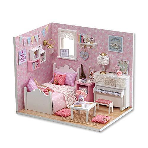 Madeinely - Kit creativo per casa delle bambole, in legno, per soggiorno, divano, tavolino, accessori per il caffè, idea regalo (colore: Sunshine princess)